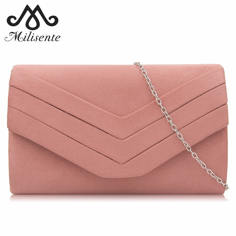 Milisente Clutch Purse For Women Velvet Envelope Clutches Fashion Party Evening Bag with Shoulder Chain Black