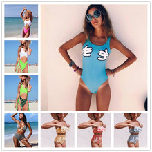 2019 Sexy New Solid Mickey Women Swimsuit High Waist Swimwear Lady Cartoon Hand Print Bathing Suit Bather Mujer Padded Bikini