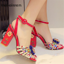 Summer Vintage Red Print Women Gladiator Sandals Women Pumps Handmade Flowers High Heels Real Leather Wedding Shoes Woman