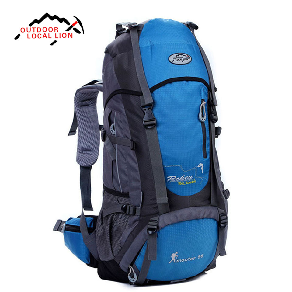 LOCAL LION Outdoor Backpack 55L Sport Backpack Camping Travel Pack Climbing Hiking Waterproof Trekking Bag Travel Backpack high quality 55l 10l internal frame climbing bag waterproof backpack suit for outdoor sports travel camping hinking bags