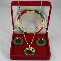 elegant 7.5 green and red Jade bracelet, green jade earings and 18kgp dragon pendant fashion jewelry sets for lady