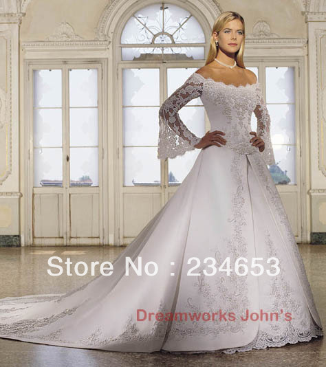 Wedding Dresses With Bell Sleeves: Lace Bell Long Sleeve Appliques Satin A Line Wedding Dress