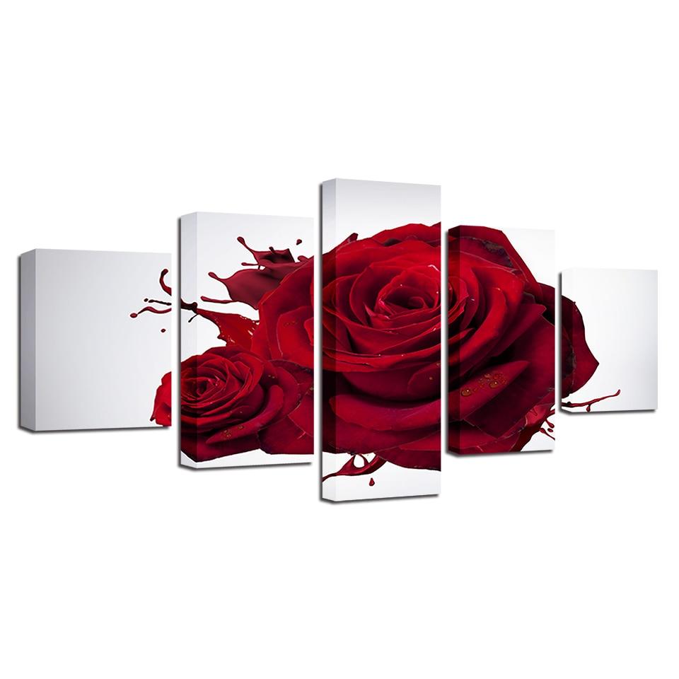 HD impreso moderno pared arte cartel modular 5 panel Red Rose flores ...