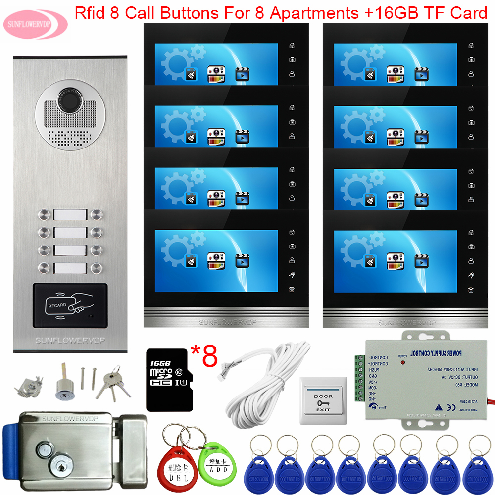 For 6-12 Apartments Video Intercom With Recording 7inch Color House Intercom +16GB TF Card Access Control + Electronic Door Lock