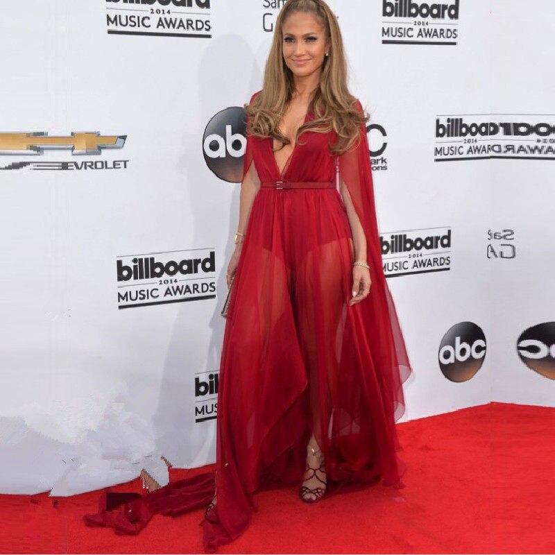 800f52a86d7 Jennifer Lopez Dresses 2016 Hot Sexy Deep V Neck Celebrity Dress Illusion  See Through Chiffon Couture