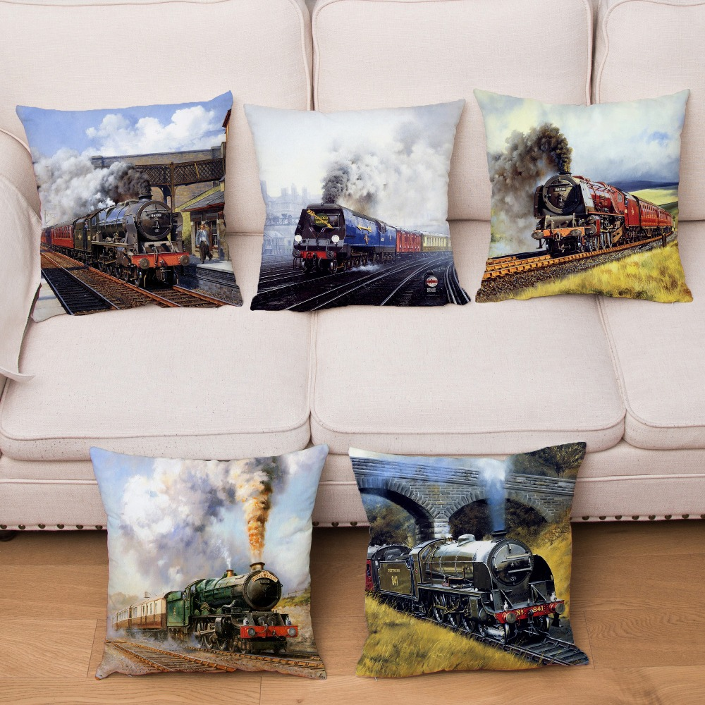 Super Soft Short Plush Cushion Cover Hand Drawn Train Print Pillow Covers 45*45 Square Throw Pillows Cases Home Decor Pillowcase