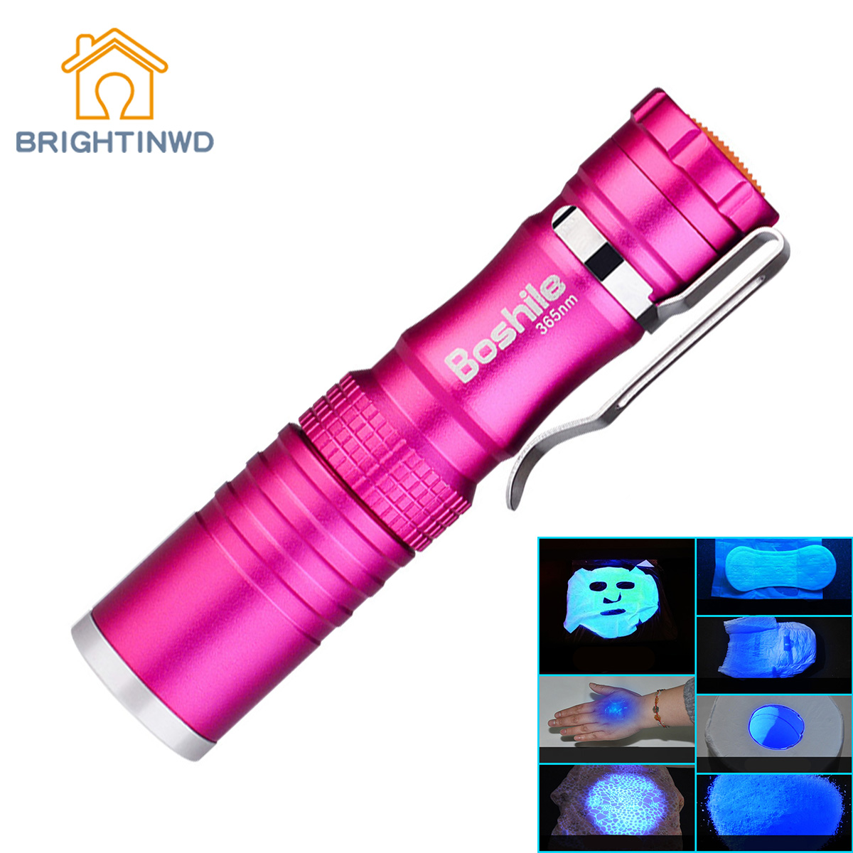 Brightinwd фосфор обнаружения ручка Серебряная УФ-детектор фонарик Перезаряжаемые маска для Тесты фиолетовый свет