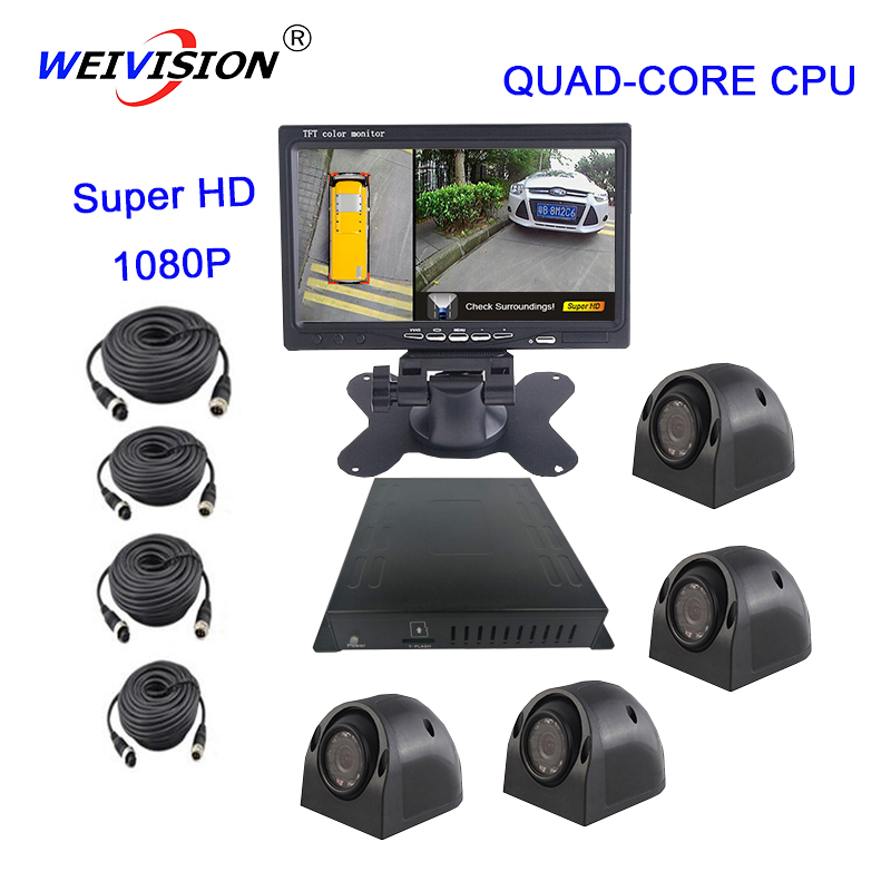 WEIVISION Super-HD 1080 p 360 Gradi uccello Vista Vista Panoramica, auto DVR per il Bus Scuola bus Camion Dei Vigili del Fuoco, del regalo 16 gb disco USB
