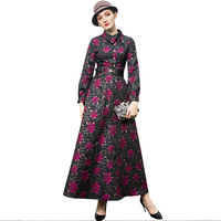 Vintage Elegant Dress Wedding Party Evening Full Length Dress Jacquard Slim Waist Night Maxi Dresses DZ2050