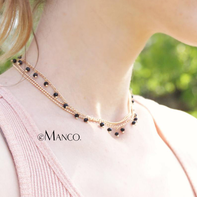 eManco Wholesale Charming Chains Choker Necklace Crystal Beads Golden Color New