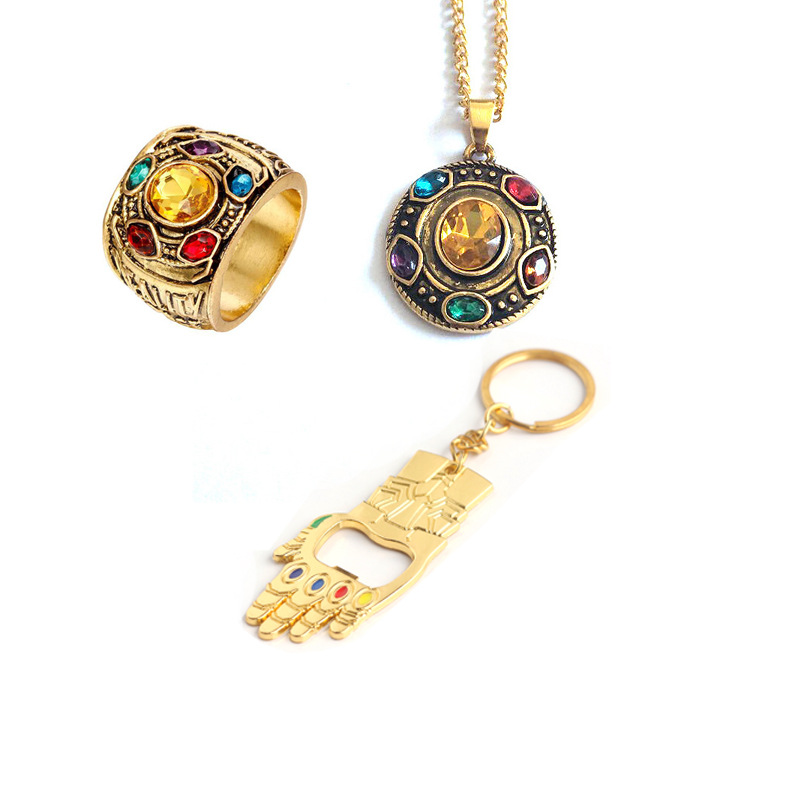 Avengers Infinity War Key Chain Infinity Gauntlet Power Key Chain Cosplay Alloy Ring Jewelry Metal Necklace Pendant Key Chain
