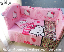Promotion! 6pcs Baby bedding sets 100% cotton baby cot bedclothes cot bumper ,include (bumpers+sheet+pillow cover)