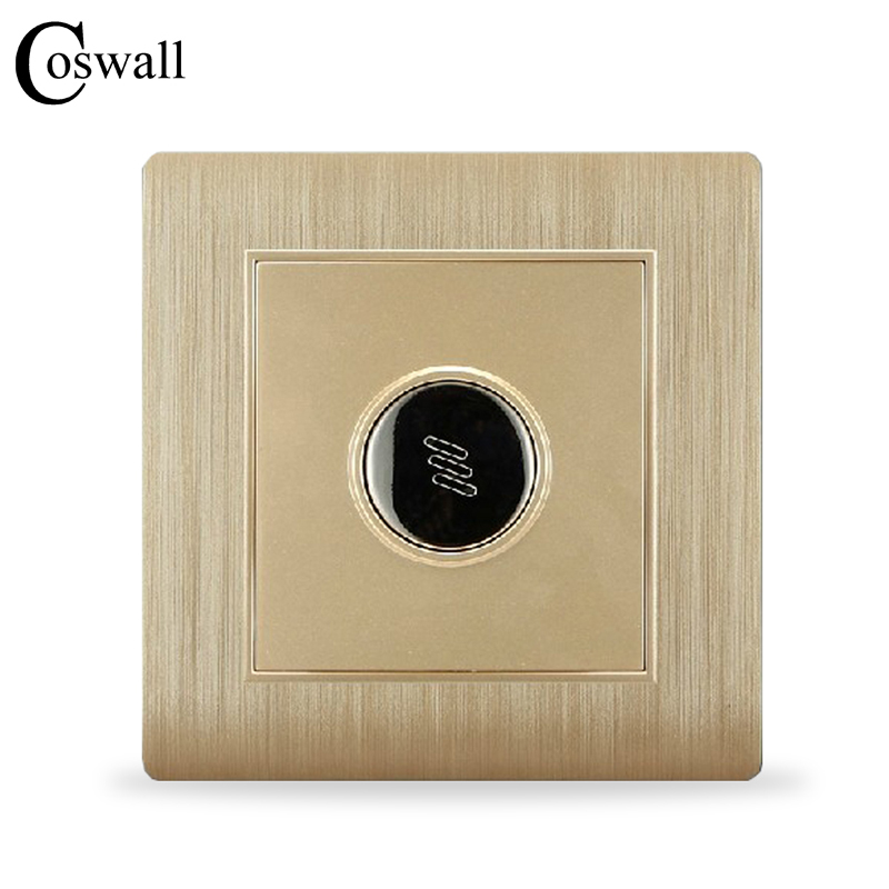 COSWALL Luxury Wall Timer Switch Sound and Light Control Time Delay Switch Champagne Gold AC 110~250V C31 Series dc 12v led display digital delay timer control switch module plc automation new