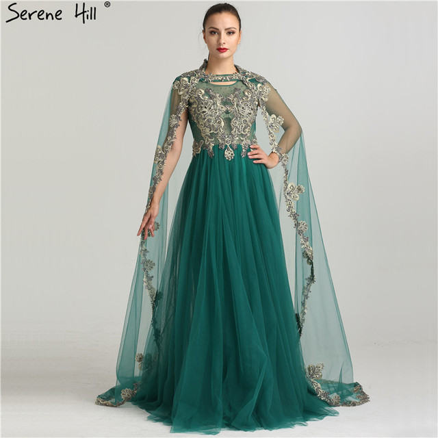 Dark Green Embroidery Arabic Muslim Evening Dresses 2018 Real ...