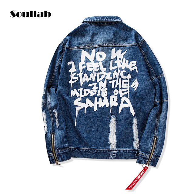 Soullab Quality Black Blue Ripped Zipper Outerwear Denim