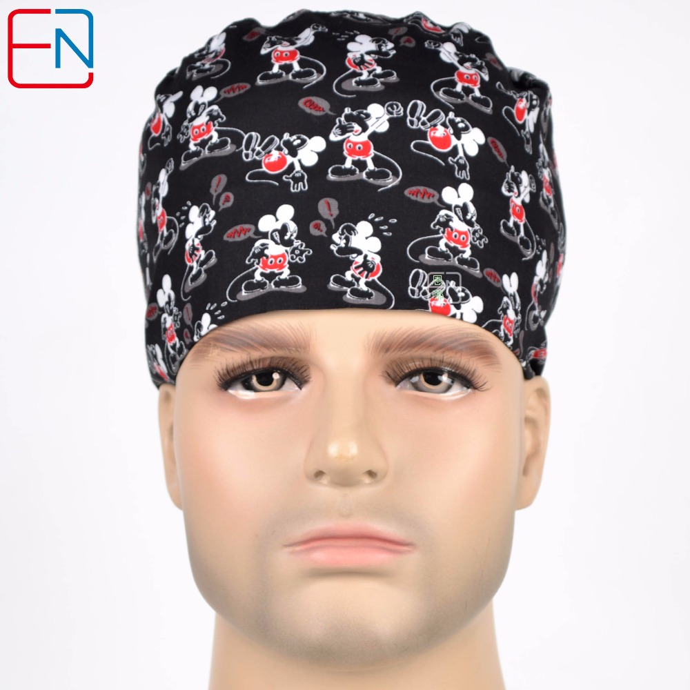 Henner Cotton Scrub Cap Mask For Women And Men Hospital Medical Hats Black Printing Adjustable Unisesx Section Surgical Hat Mask
