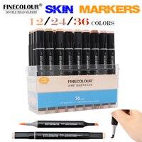 FINECOLOUR 12/24/36Color Skin Tones Soft Brush Markers Set Alcohol Based Sketch Marker Manga Art Supplier Professional Drawing