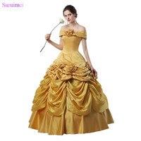 Latest Design Ball Gown Prom Dresses Handmade Flowers Pleated Gold Taffeta Girls Graduation Dresses 18 Years Prom Gown