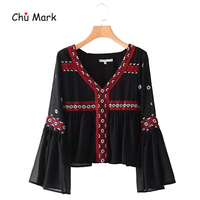 Chu Mark Women Vintage Geometric Pattern Embroidery V Neck Chiffon Blouses Flare Sleeve Pleated Ladies Casual