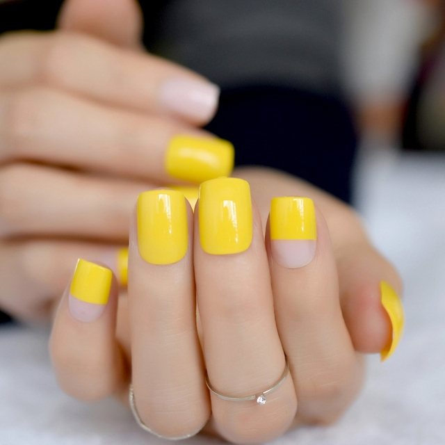 651edb529fd5 Candy Custom Fake Nails Lemon Yellow Squoval Wholesale Full Fake Nails for  Fingers DIY Deisgned Tips with Glue sticker
