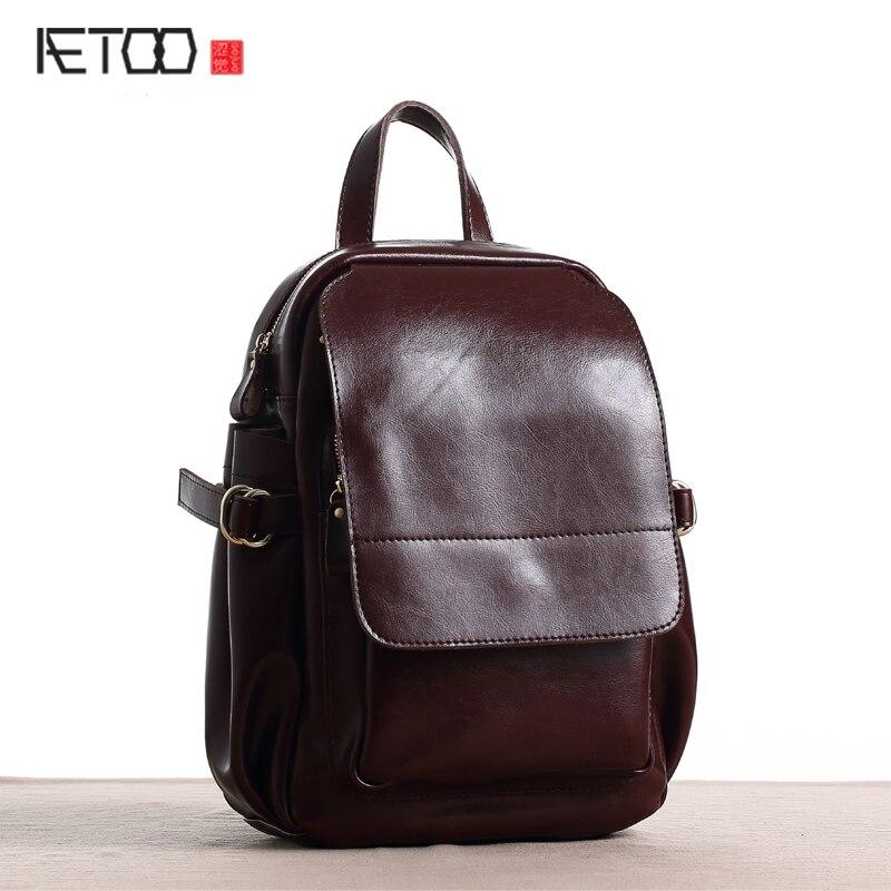 AETOO New original backpack female leather street fashion large volume bag travel computer backpack new grub street