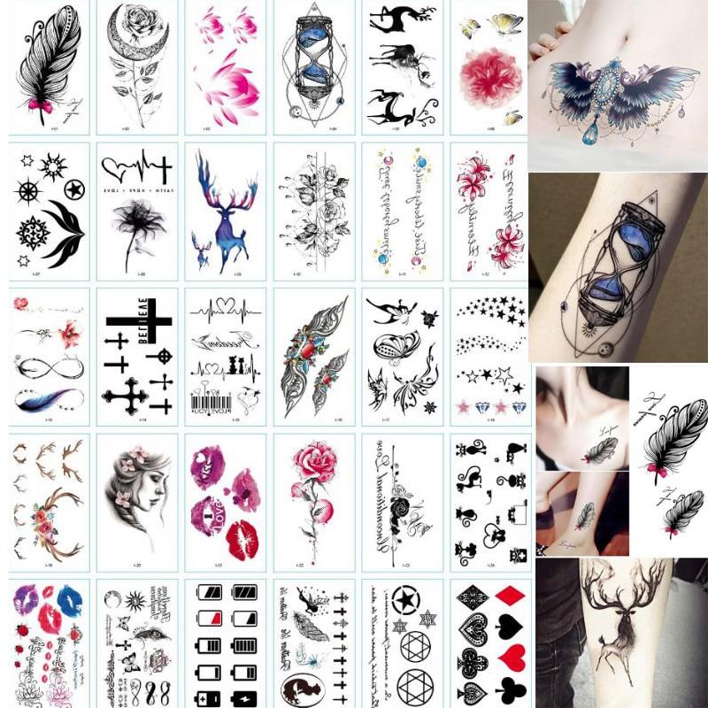 30 Sheet 3D Butterfly Temporary Tattoos Body Art Sticker Flower Letters Cartoon Dog Fake Tattoos Infinity Tattoo for Women, Kids 3