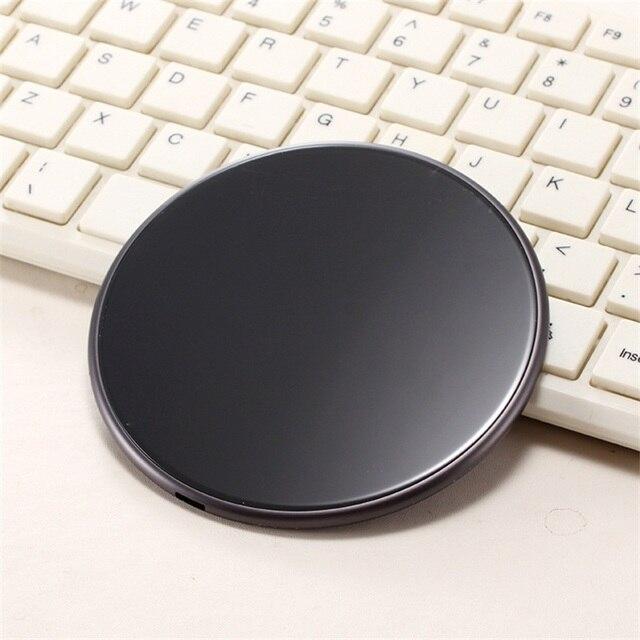 Черный Беспроводной Зарядное устройство T2 Быстрый Мобильный База QI Универсальный круглый Зарядное устройство для iPhoneX/samsung смартфон