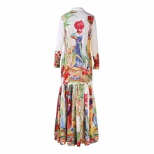 Long Dress Sleeve Retro Art Printed