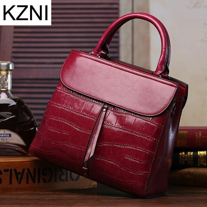 KZNI genuine leather luxury handbags women bags designer crossbody bags for women bolsas femininas bolsos mujer L111341