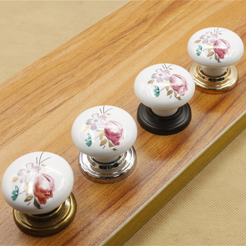 Fashion Design Vintage Ceramic Door Knob Cabinet Drawer Wardrobe Cupboard Pull Handle Furniture Hardward vintage metal refine 40mm furniture knob cabinet knob drawer pull cabinet furniture drawer wardrobe door handle mol 35
