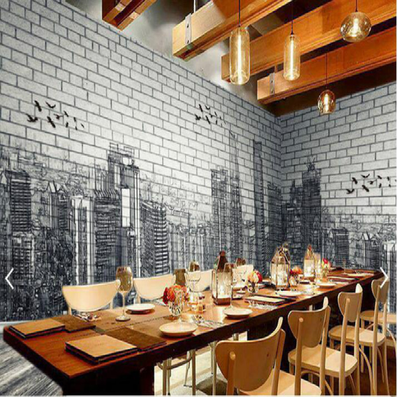 Urban architecture black white hand painted brick wall 3d