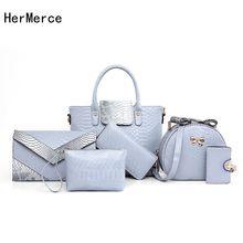 HerMerce Fashion Bag Women Bags Handbags Women Famous Brands 6 Piece Handbags Sets Crocodile Ladies Shoulder