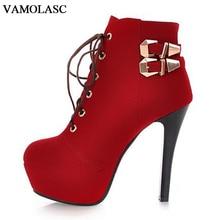 VAMOLASC New Women Autumn Winter Warm Faux Suede Ankle Boots Lace Up Thin High Heel Boots Platform Women Shoes Plus Size 34-43