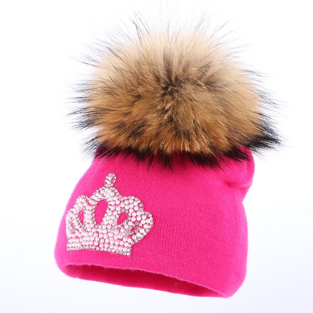 0 to 2 year old baby knitted winter hat cap girl boy kids cotton fuchsia mink fur pompom children crown beanies casual skullies