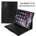 For Apple iPad 2 3 4 Magnetically Detachable ABS Bluetooth Keyboard Portfolio Folio PU Leather Case Cover + Stylus Pen +Film