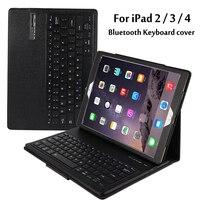 Para A Apple iPad 2/3/4 Magneticamente Destacável ABS Bluetooth Portfolio teclado Folio PU Caso Capa de Couro + Stylus Pen + filme