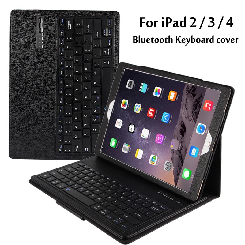 Prix pour Pour apple ipad 2/3/4 Magnétiquement Amovible ABS Bluetooth clavier Portefeuille Folio PU Housse En Cuir + Stylet + Film