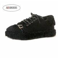 ARANSUE 2018 hot vulcanization shoes winter casual platform shoes Cashmere frenulum Fashion women Metal accessories outdoor shoe