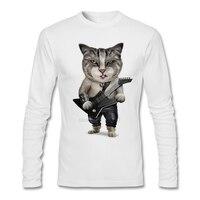 Men S Heavy Metal Bass Guitar Cat Tee Shirt Long Sleeve Father S Day Custom Heavy