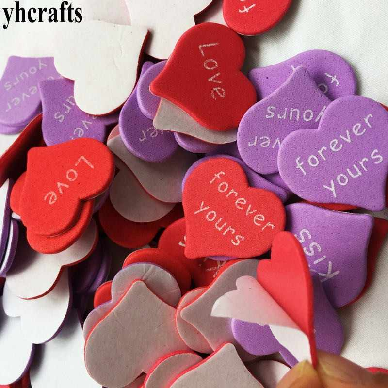 30PCS/LOT.Love Kiss Forever heart foam stickers Valentine's day crafts Wedding party decoration Kids diy toys Kindergarten craft