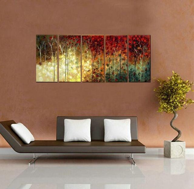 100% Hand Painted Art Oil Paintings Kapok Blooming Landscape Wood Framed  Inside For Living Room