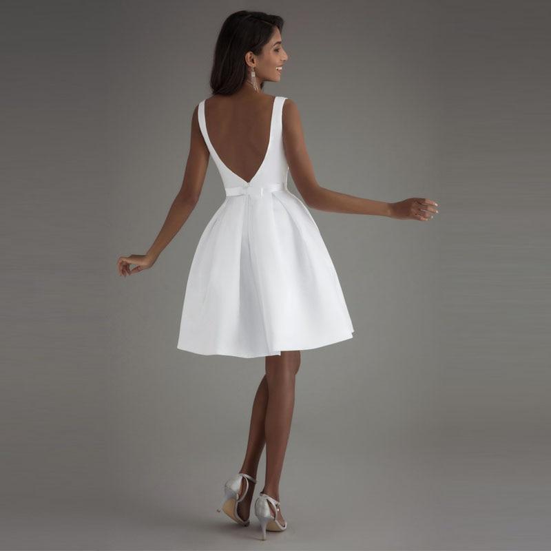 LORIE Billiga Korta Bröllopsklänningar 2018 Öppna Tillbaka Robe De - Bröllopsklänningar - Foto 5