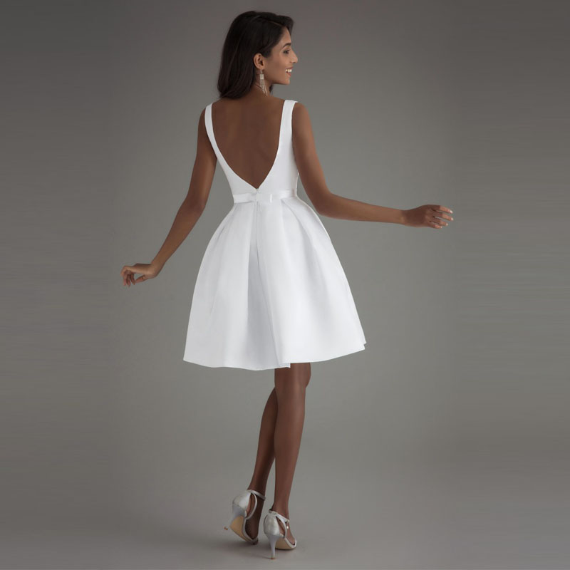 LORIE Cheap Short Wedding Dresses 2018 Open Back Robe De Mariage Simple  Backless Satin Bridal Dress Elegant Women Wedding Gown-in Wedding Dresses  from ... b5a9c1993db5