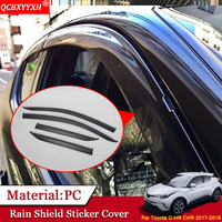 QCBXYYXH Car styling Awnings Shelters Window Visors Sun Rain Shield Stickers Cover Car Accessories For Toyota CHR C HR 2017 2018