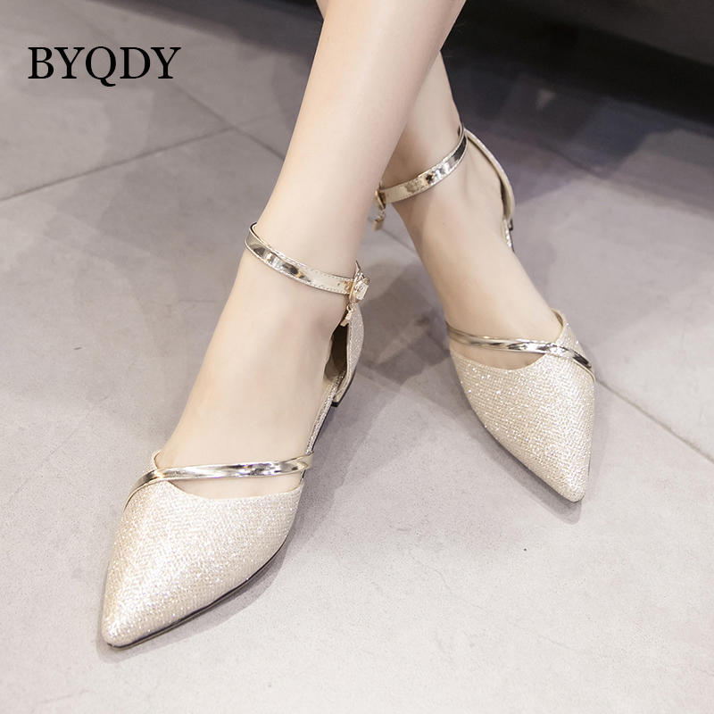 BYQDY 2019 New Fashion Spring Women Sandals Brand Designer Metal Decoration Gold Silver Party Shoes Summer Elegant Low Heel in Low Heels from Shoes