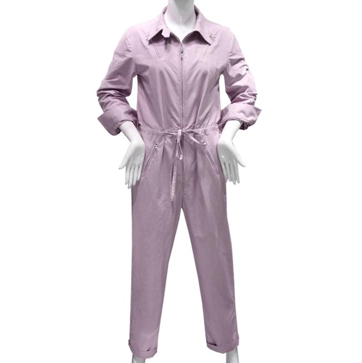 2019 Women fashion Jumpsuit Romper long Sleeve turn down collar Playsuit Overalls Ladies loose Purple Playsuit