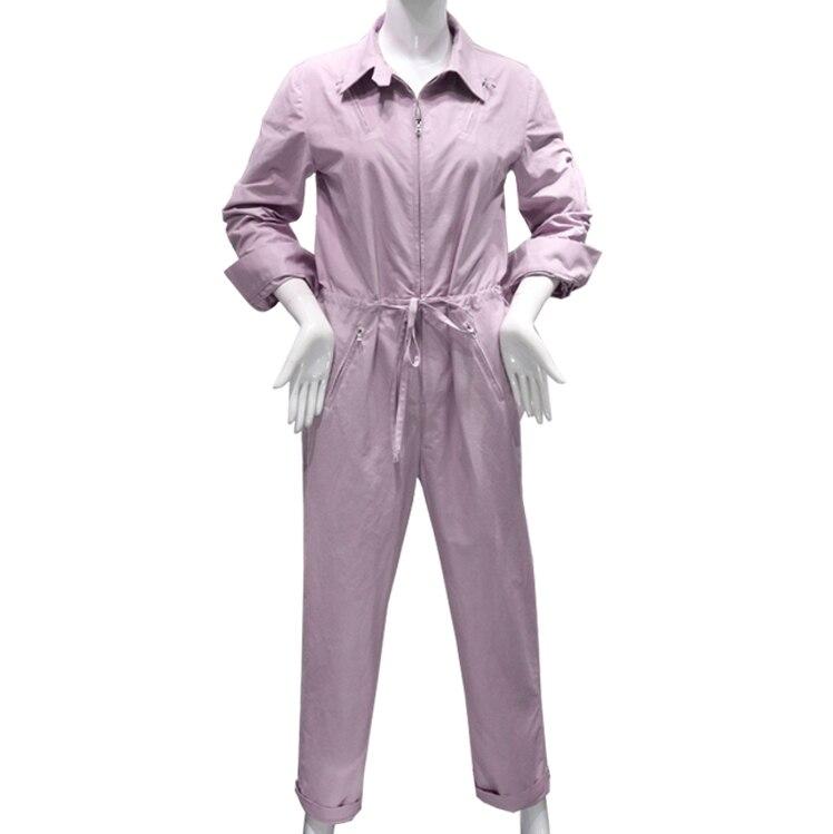 2019 femmes mode combinaison barboteuse à manches longues col rabattu combishort salopette dames lâche violet combishort