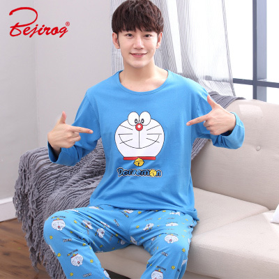 Bejirog   pajamas     set   for men sleepwear cat animal prints nightwear winter long sleeved nightie male plus size pyjamas autumn suit