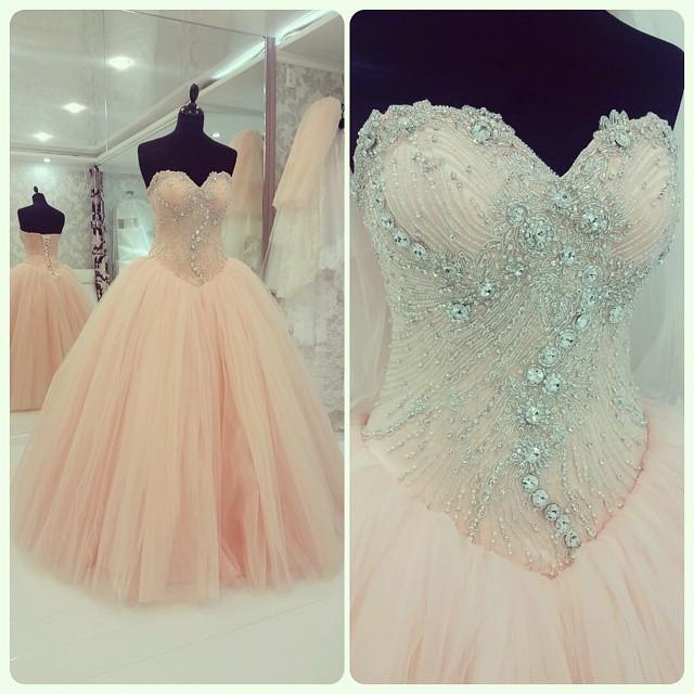 Cecelle 2016 Coral Tulle Long Beaded Ball Gown Prom Dresses ...