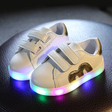 Size 21-30 USB Charging Children Boys Shoes with Sole Enfant Led Light Glowing Luminous Sneakers for Girls Shoes Kids Led Shoes(China)